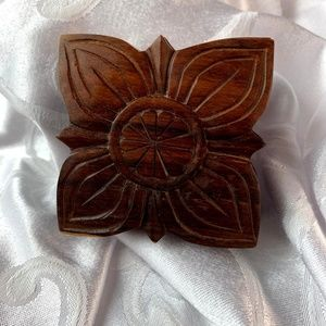 Carved Wood Lidded Trinket Box Small Square